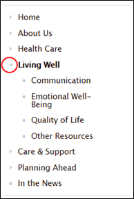 Image of left navigation bar with Living Well tab highlighted in red.